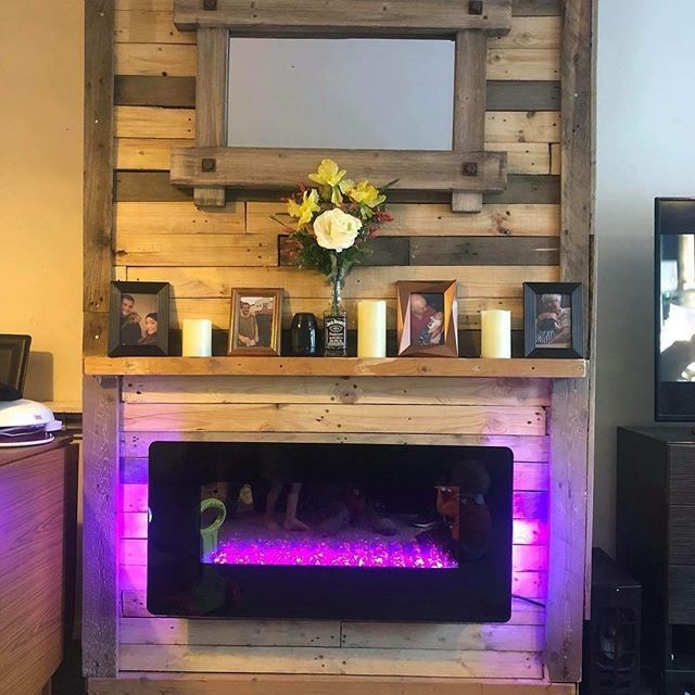 Pallet fireplace decor