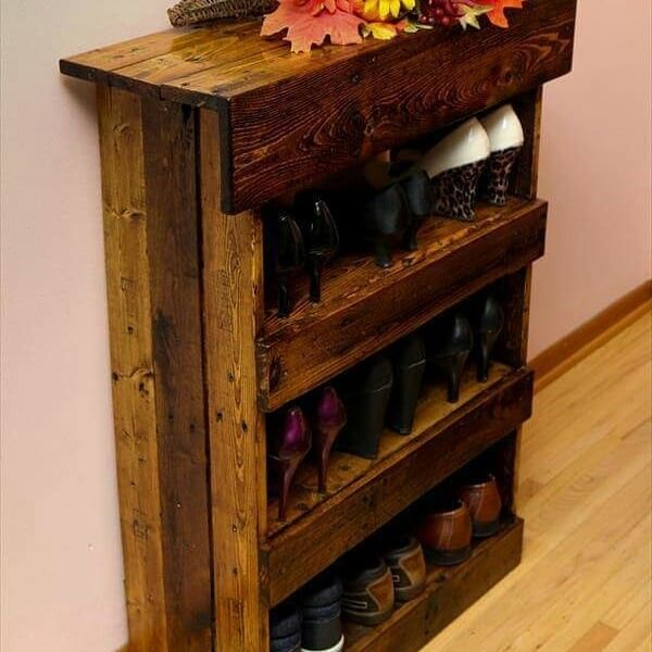 Pallet shoes rack bench