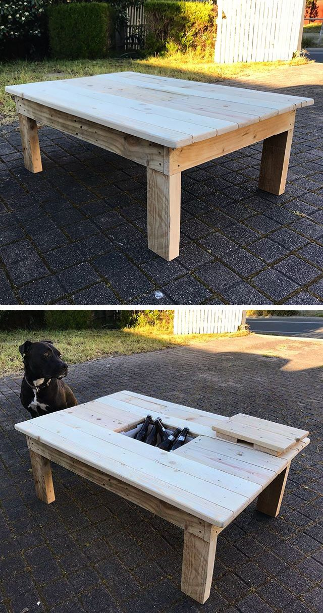 Pallet table with cooling box