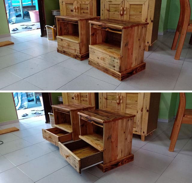 Pallet drawers night stand