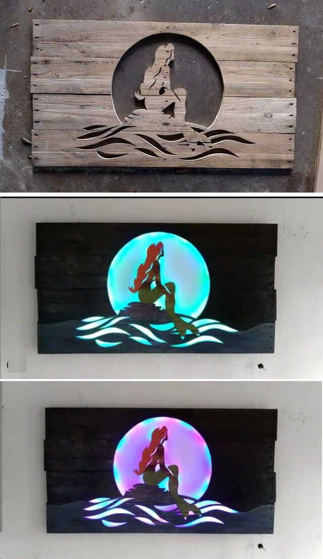 Pallet glowing wall art