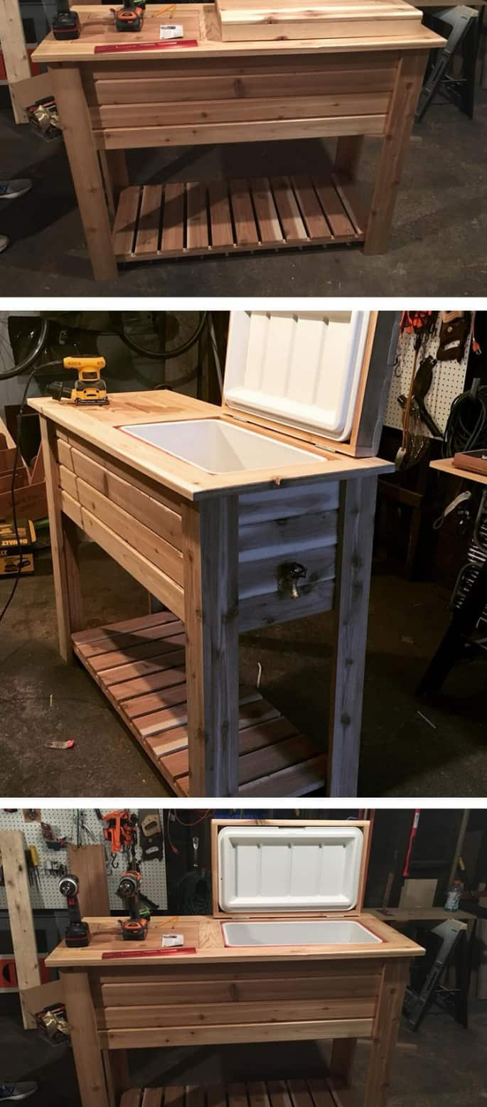 pallet table cooler for wine storage