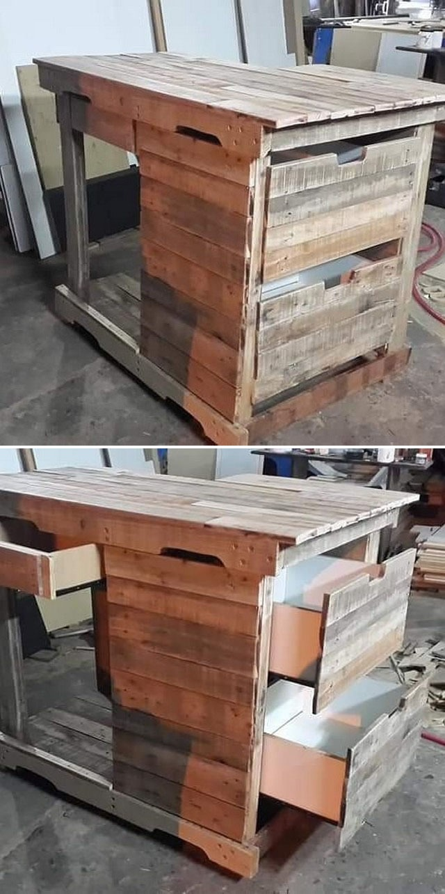 Pallet furniture table with storage drawers