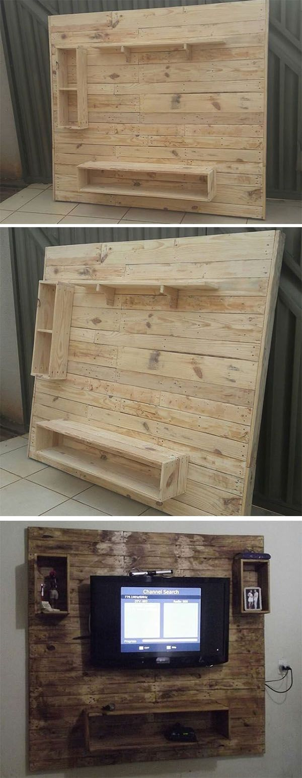 Pallet wall tv stand projects
