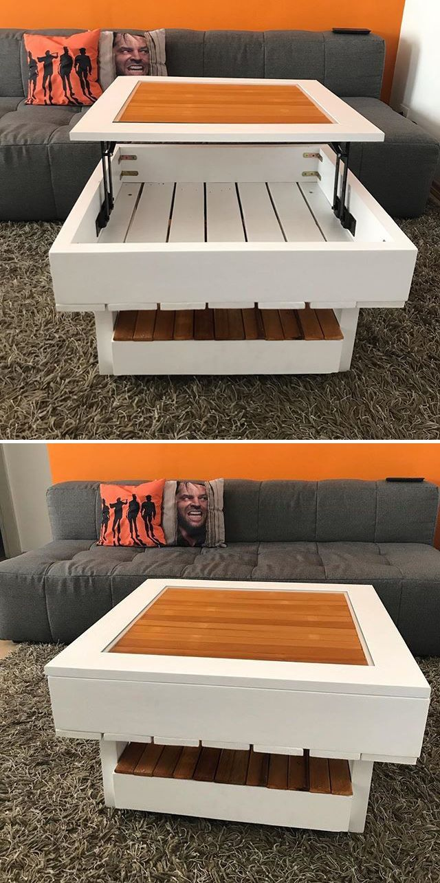 Pallet coffee table with storage space projects