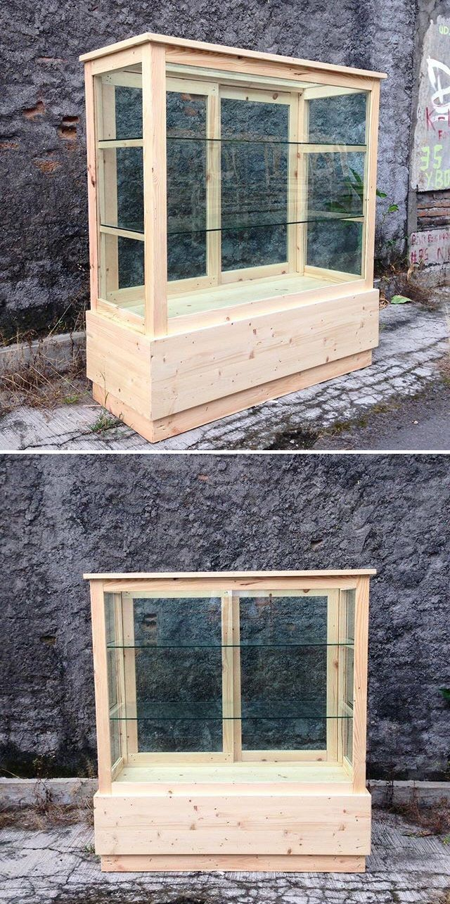 Pallet show case furniture projects
