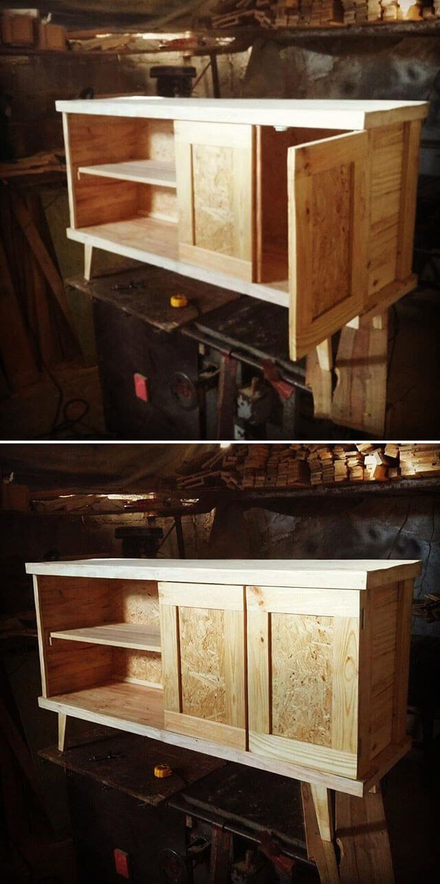 pallet table with storage ideas