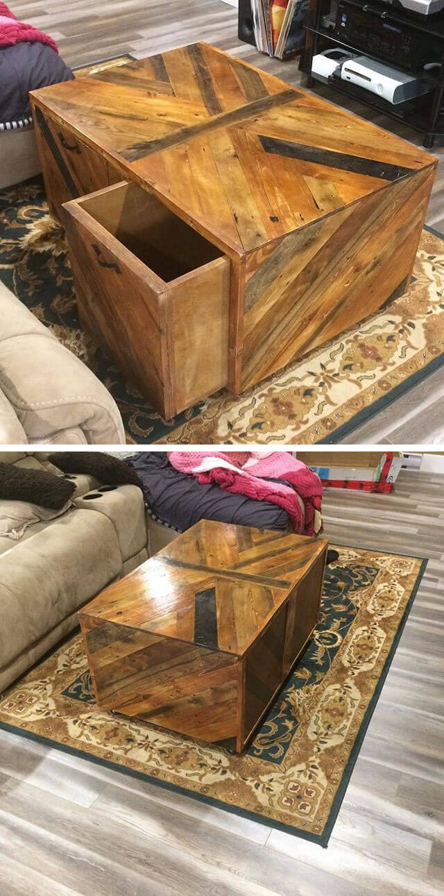 pallet table with drawer for drawing room