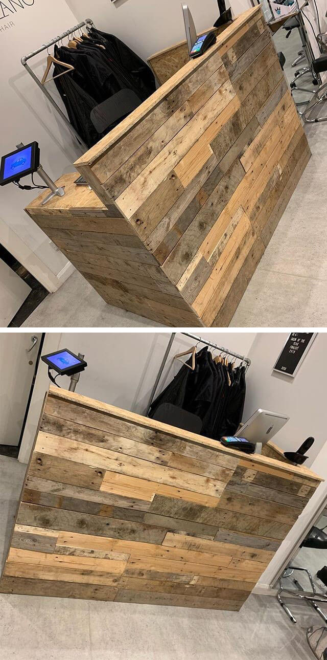 pallet office recieption table