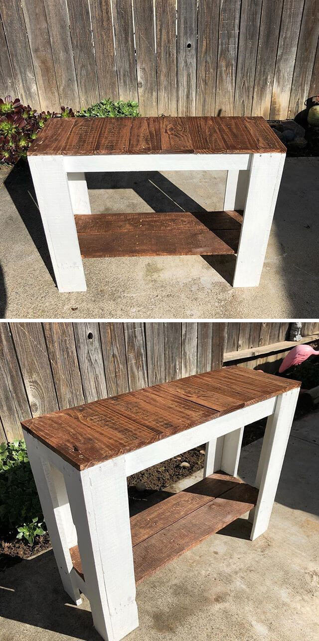 beautiful pallet side table for wall
