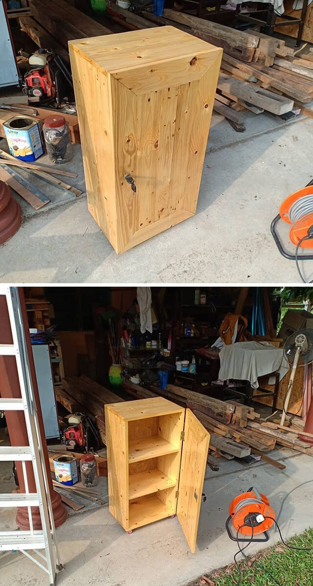pallet storage box with shelf